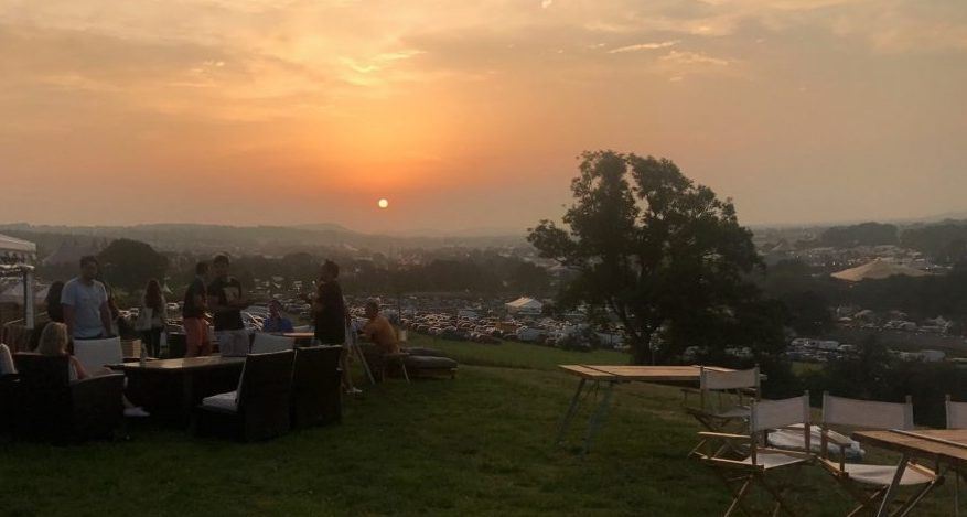 Sunset over a festival in full swing